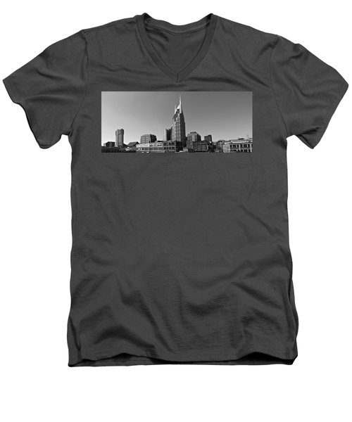 Nashville Tennessee Skyline Black And White Men's V-Neck T-Shirt by Dan Sproul