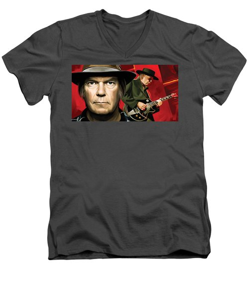 Neil Young Artwork Men's V-Neck T-Shirt by Sheraz A