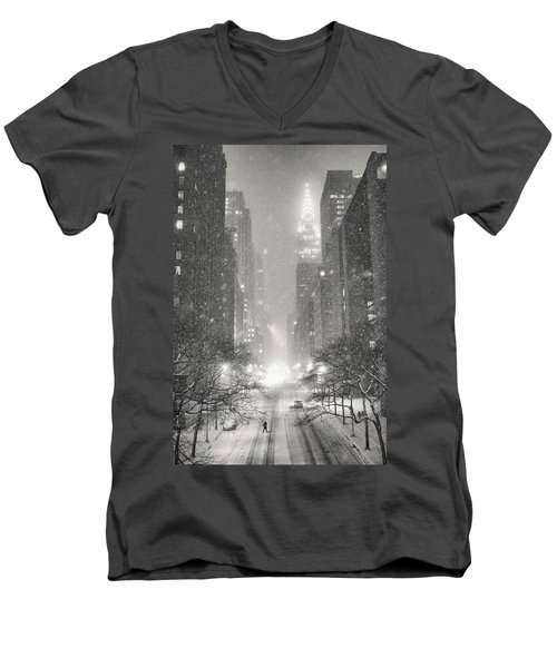 New York City - Winter Night Overlooking The Chrysler Building Men's V-Neck T-Shirt by Vivienne Gucwa