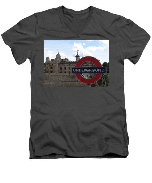 Next Stop Tower Of London Men's V-Neck T-Shirt by Jenny Armitage
