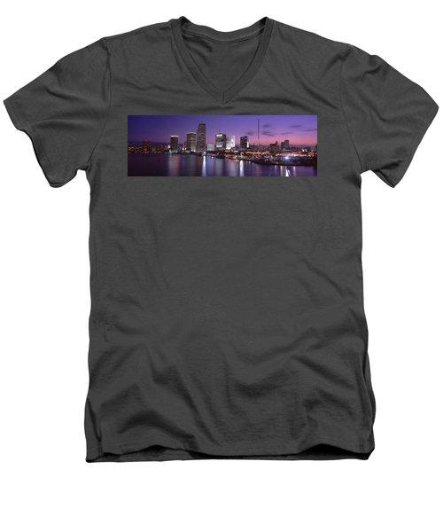 Night Skyline Miami Fl Usa Men's V-Neck T-Shirt by Panoramic Images