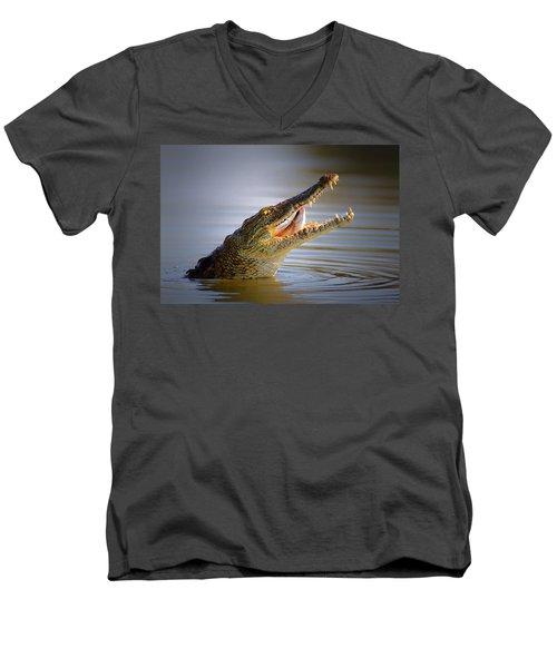 Nile Crocodile Swollowing Fish Men's V-Neck T-Shirt by Johan Swanepoel