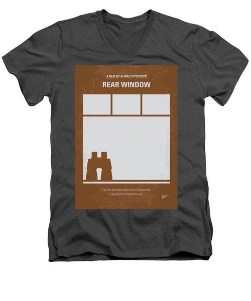 No238 My Rear Window Minimal Movie Poster Men's V-Neck T-Shirt by Chungkong Art