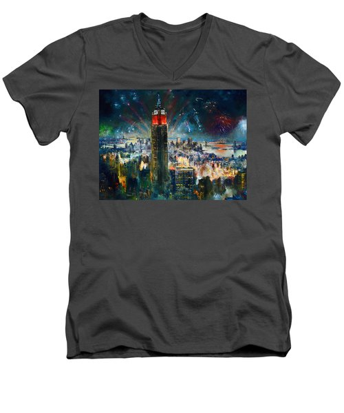 Nyc In Fourth Of July Independence Day Men's V-Neck T-Shirt by Ylli Haruni