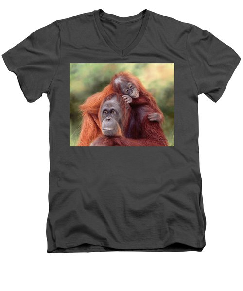 Orangutans Painting Men's V-Neck T-Shirt by Rachel Stribbling
