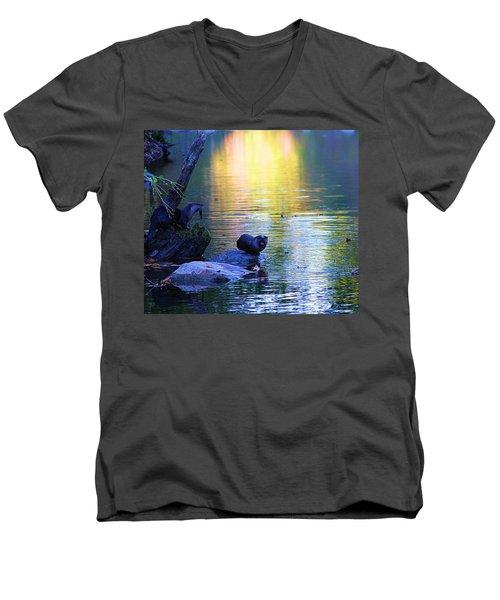 Otter Family Men's V-Neck T-Shirt by Dan Sproul