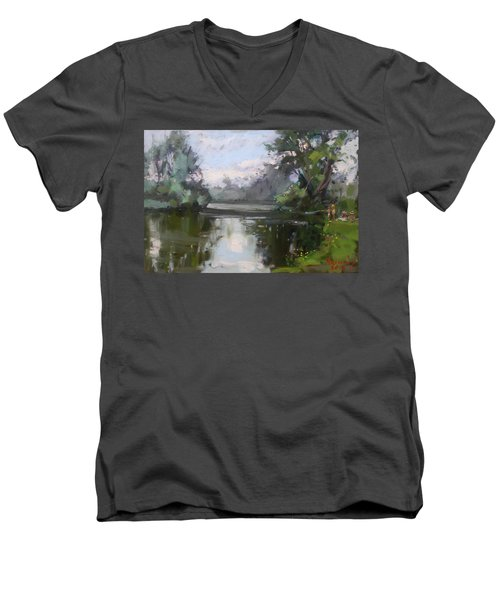 Outdoors At Hyde Park Men's V-Neck T-Shirt by Ylli Haruni