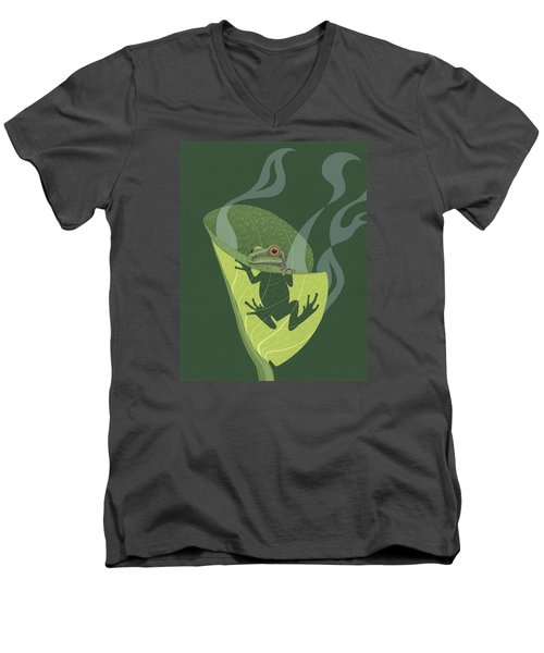 Pacific Tree Frog In Skunk Cabbage Men's V-Neck T-Shirt by Nathan Marcy