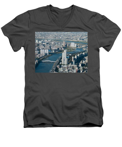 Panorama Of Tokyo Men's V-Neck T-Shirt by Jill Mitchell