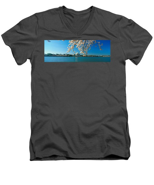 Panoramic View Of Jefferson Memorial Men's V-Neck T-Shirt by Panoramic Images