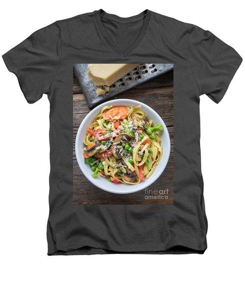 Pasta Primavera Dish Men's V-Neck T-Shirt by Edward Fielding