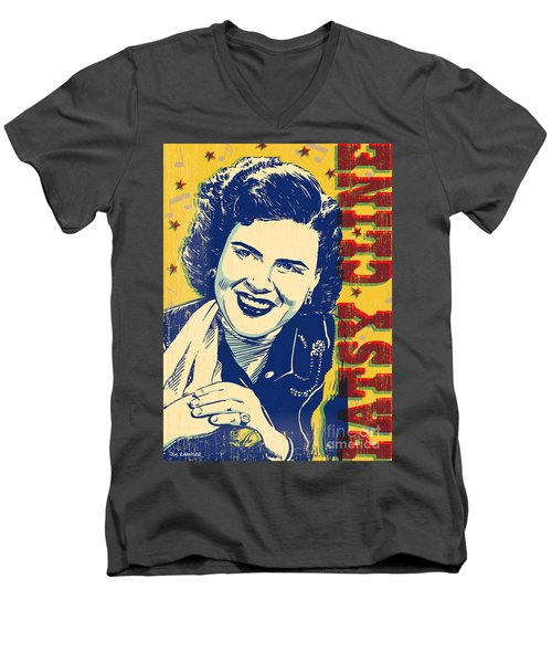 Patsy Cline Pop Art Men's V-Neck T-Shirt by Jim Zahniser