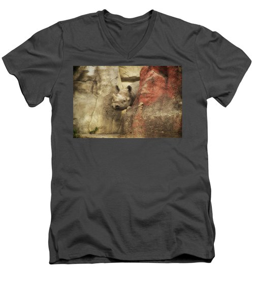 Peek A Boo Rhino Men's V-Neck T-Shirt by Thomas Woolworth