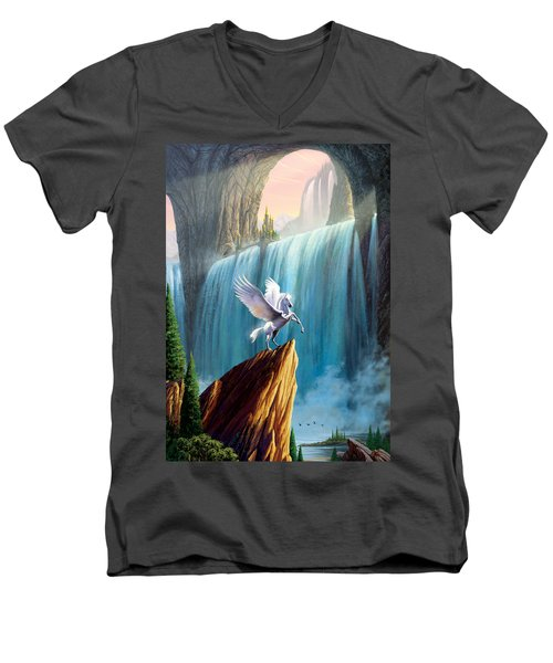 Pegasus Kingdom Men's V-Neck T-Shirt by Garry Walton