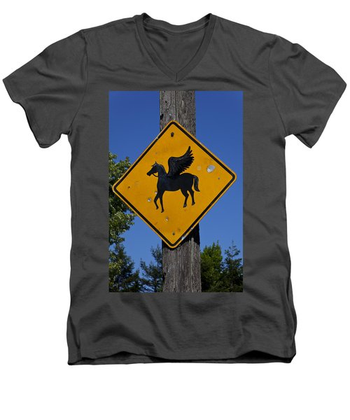Pegasus Road Sign Men's V-Neck T-Shirt by Garry Gay