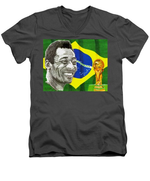 Pele Men's V-Neck T-Shirt by Cory Still