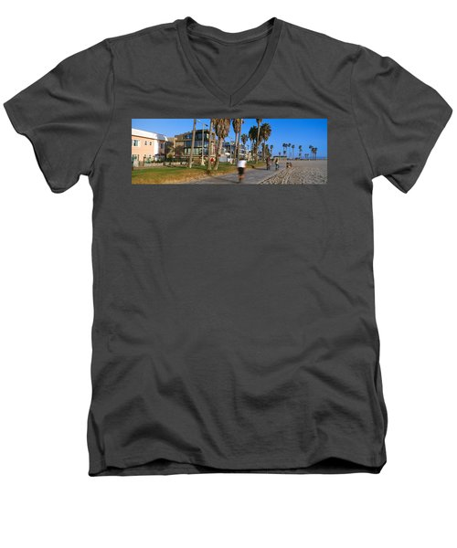 People Riding Bicycles Near A Beach Men's V-Neck T-Shirt by Panoramic Images