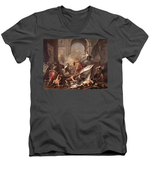 Perseus, Under The Protection Of Minerva, Turns Phineus To Stone By Brandishing The Head Of Medusa Men's V-Neck T-Shirt by Jean-Marc Nattier