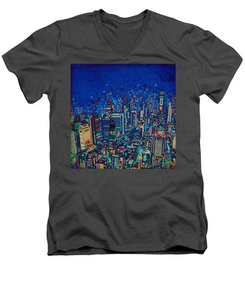 Philadelphia Panorama Pop Art 2 Men's V-Neck T-Shirt by Bekim Art