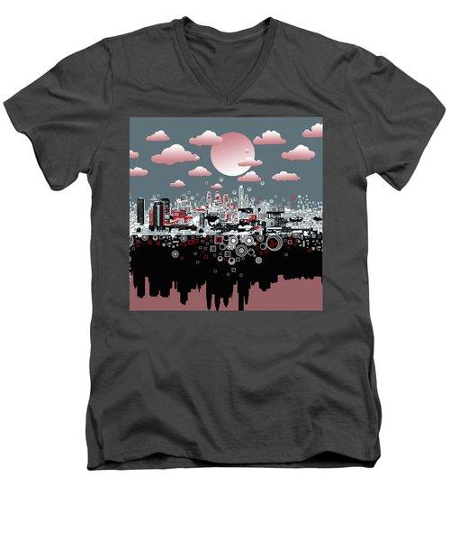 Philadelphia Skyline Abstract 6 Men's V-Neck T-Shirt by Bekim Art