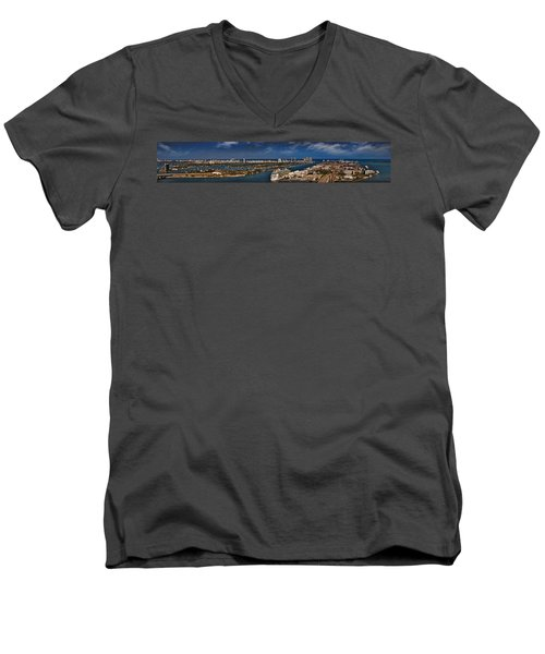 Port Of Miami Panoramic Men's V-Neck T-Shirt by Susan Candelario