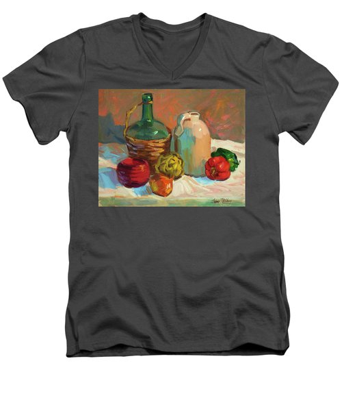 Pottery And Vegetables Men's V-Neck T-Shirt by Diane McClary