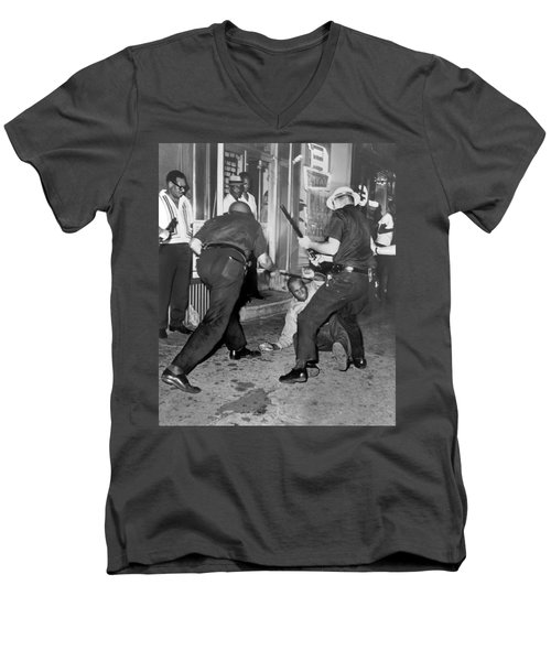 Protester Clubbed In Harlem Men's V-Neck T-Shirt by Underwood Archives