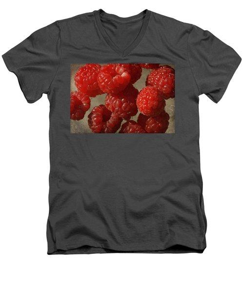 Red Raspberries Men's V-Neck T-Shirt by Cindi Ressler