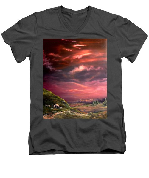 Red Sky At Night Men's V-Neck T-Shirt by Jean Walker