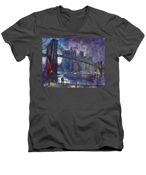 Romance By East River Nyc Men's V-Neck T-Shirt by Ylli Haruni