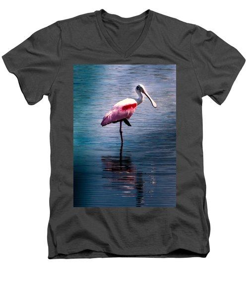 Roseate Spoonbill Men's V-Neck T-Shirt by Karen Wiles