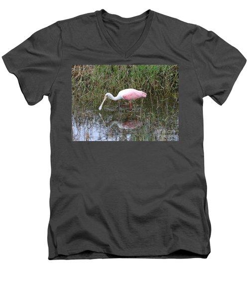 Roseate Spoonbill Reflection Men's V-Neck T-Shirt by Carol Groenen