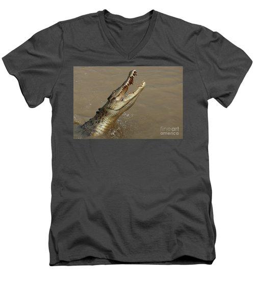 Salt Water Crocodile Australia Men's V-Neck T-Shirt by Bob Christopher