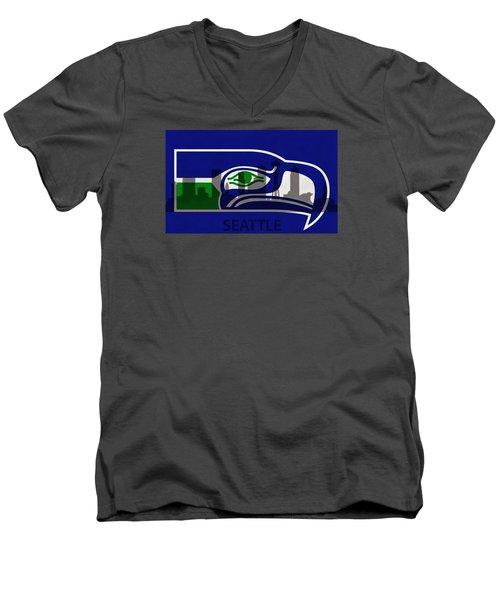 Seattle Seahawks On Seattle Skyline Men's V-Neck T-Shirt by Dan Sproul