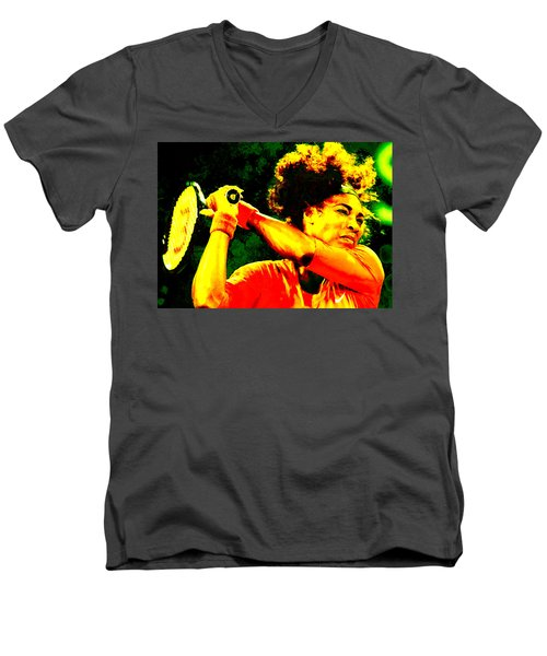 Serena Williams In A Zone Men's V-Neck T-Shirt by Brian Reaves