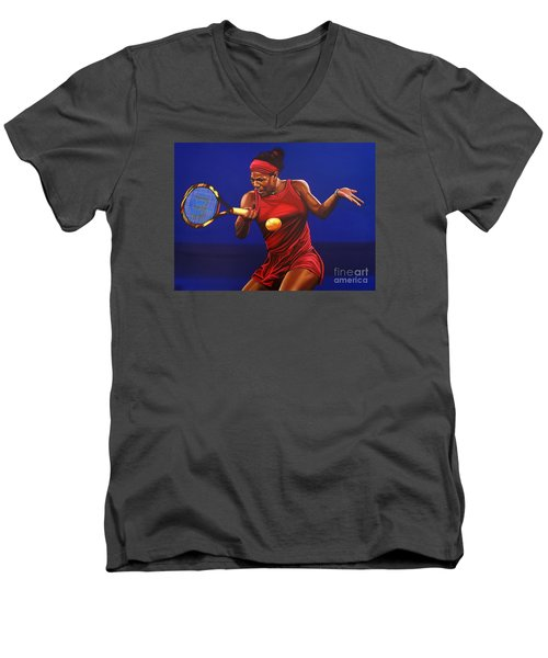 Serena Williams Painting Men's V-Neck T-Shirt by Paul Meijering