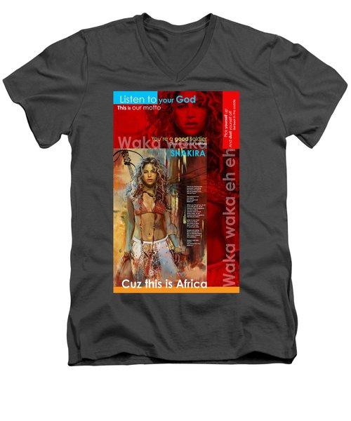Shakira Art Poster Men's V-Neck T-Shirt by Corporate Art Task Force