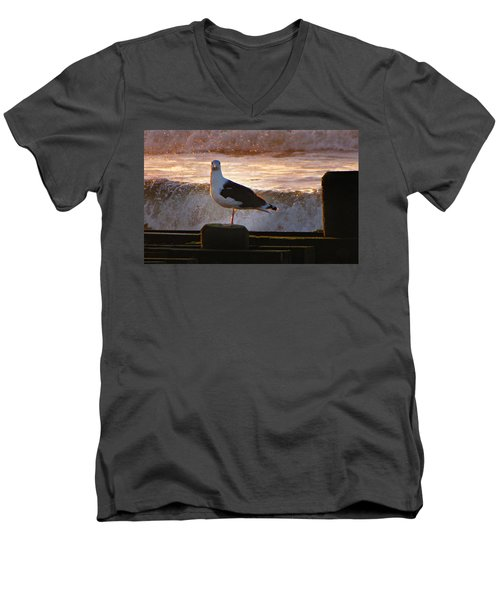 Sittin On The Dock Of The Bay Men's V-Neck T-Shirt by David Dehner