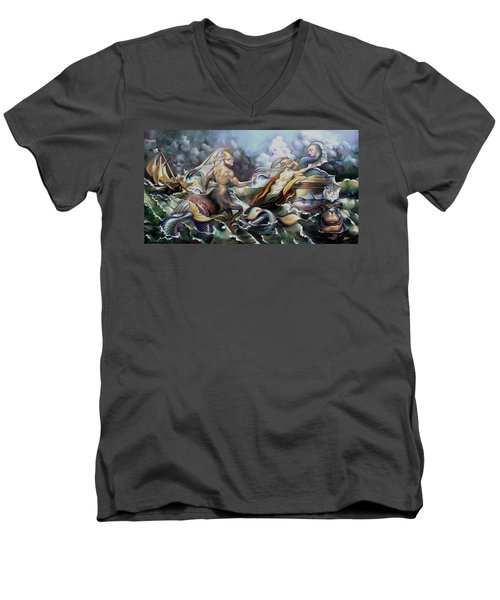 Something Fowl Afloat Redux Men's V-Neck T-Shirt by Patrick Anthony Pierson