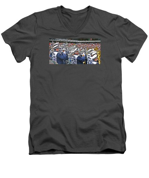 Sounds Of College Football Men's V-Neck T-Shirt by Tom Gari Gallery-Three-Photography