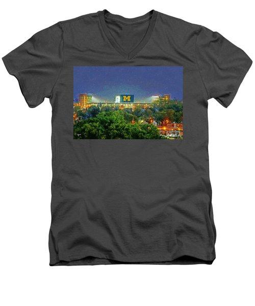 Stadium At Night Men's V-Neck T-Shirt by John Farr