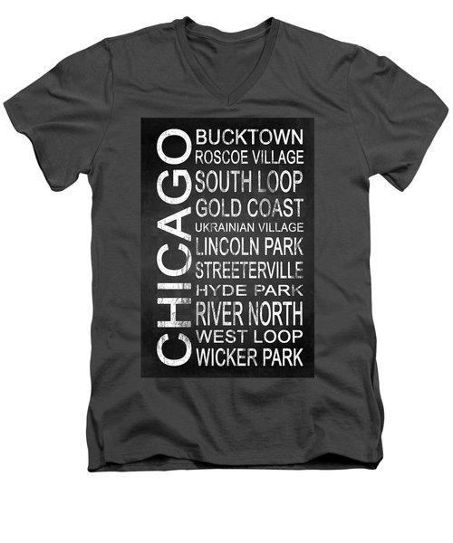 Subway Chicago 2 Men's V-Neck T-Shirt by Melissa Smith