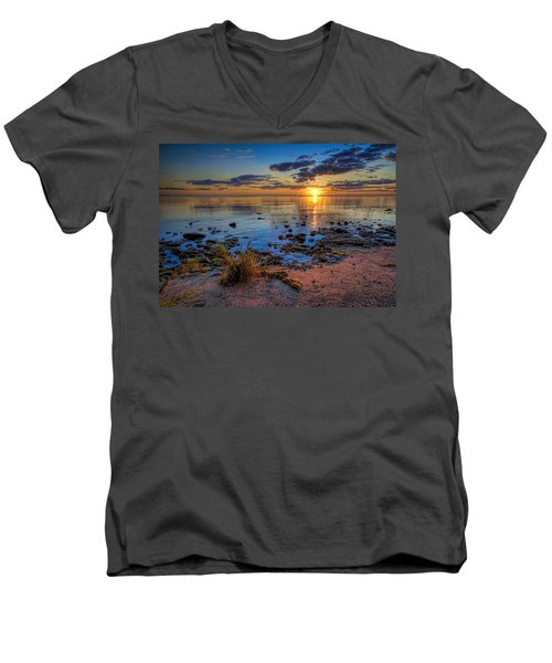 Sunrise Over Lake Michigan Men's V-Neck T-Shirt by Scott Norris