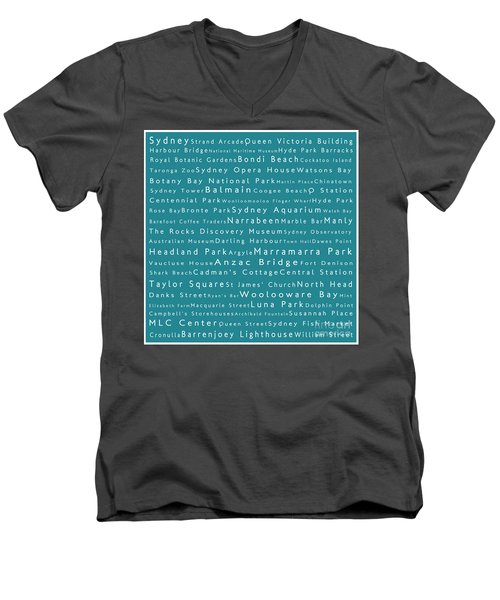 Sydney In Words Teal Men's V-Neck T-Shirt by Sabine Jacobs