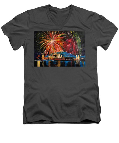 Sydney Silvester Fireworks At New Year Men's V-Neck T-Shirt by M Bleichner