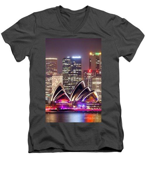 Sydney Skyline At Night With Opera House - Australia Men's V-Neck T-Shirt by Matteo Colombo
