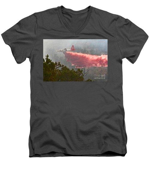 Men's V-Neck T-Shirt featuring the photograph Tanker 07 On Whoopup Fire by Bill Gabbert