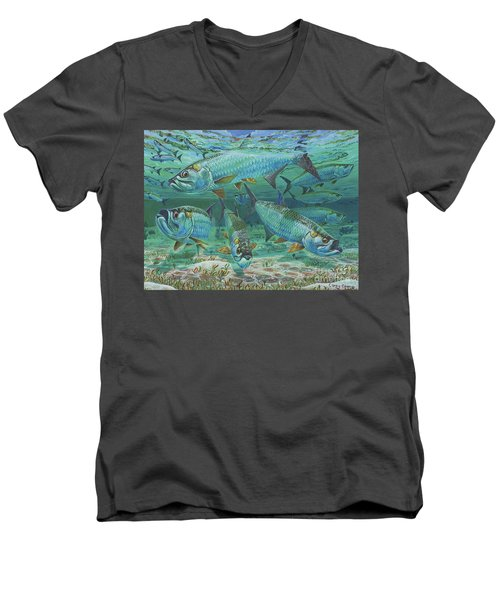 Tarpon Rolling In0025 Men's V-Neck T-Shirt by Carey Chen