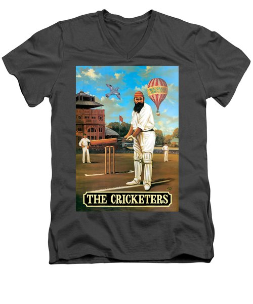 The Cricketers Men's V-Neck T-Shirt by Peter Green