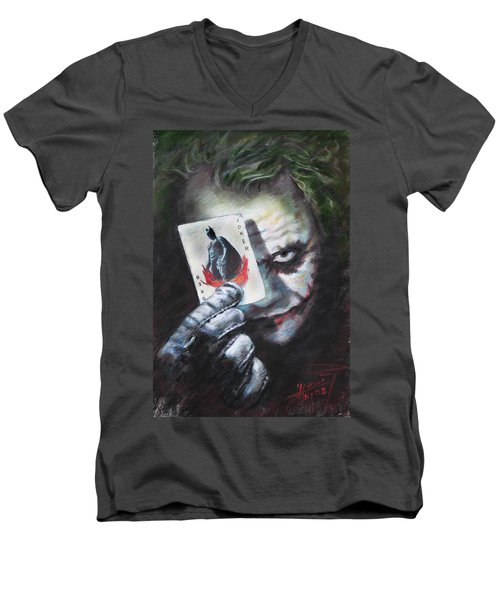 The Joker Heath Ledger  Men's V-Neck T-Shirt by Viola El